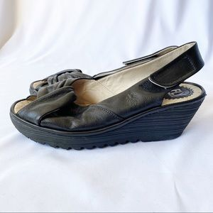 Fly London Yakin Black Leather Sling Back Wedge 40